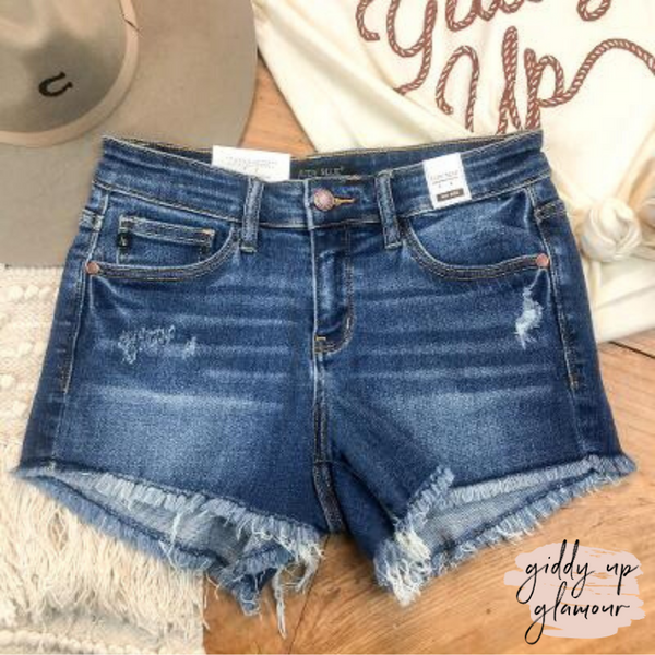 Judy Blue | Believe What You Want Distressed Denim Shorts with Frayed Hem in Dark Wash