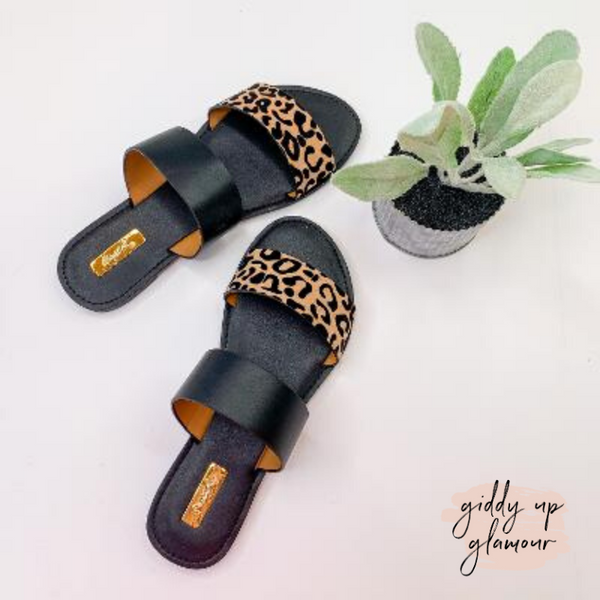 Safari Summer Two Strap Sandals in Black Leopard