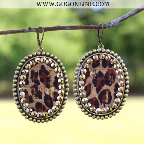 Pink Panache Bronze Oval Earrings with Leopard Inlay and Rose Gold Crystals