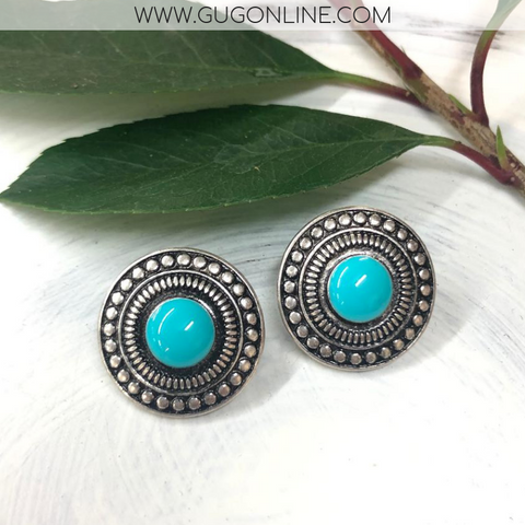 Silver and Turquoise Studded Stud Earrings