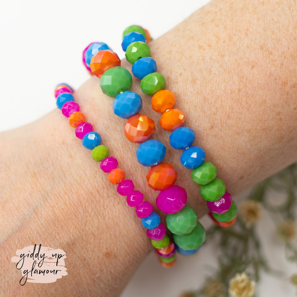 Set of Three Crystal Bracelets in Neon Multi