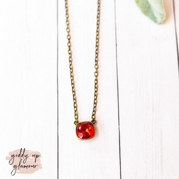 Pink Panache | Bronze Chain Necklace with Red Cushion Cut Crystal