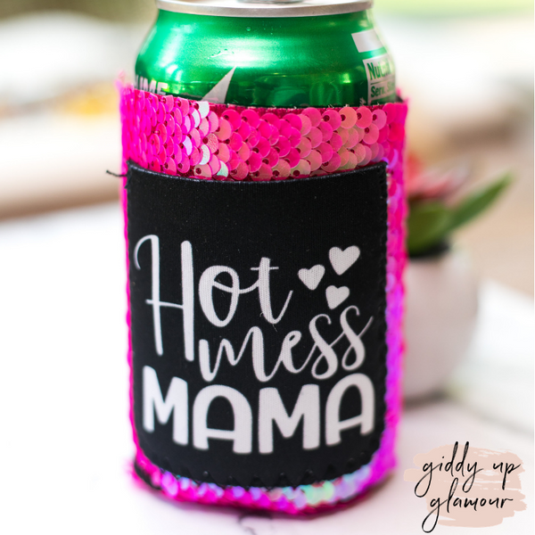 Hot Mess Mama Hot Pink Sequin Pocket Koozie