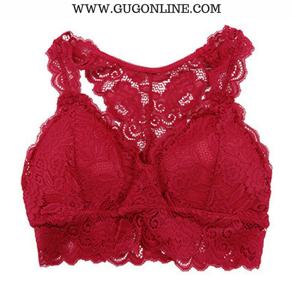 Racey Lacey Lace Bralette in Red