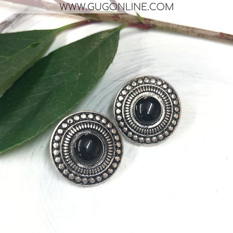 Silver and Black Studded Stud Earrings