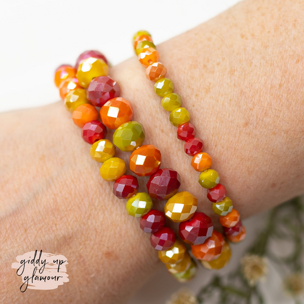 Set of Three Crystal Bracelets in Warm Multi