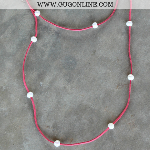 On the Line Long Leather Necklace with Pearls in Coral