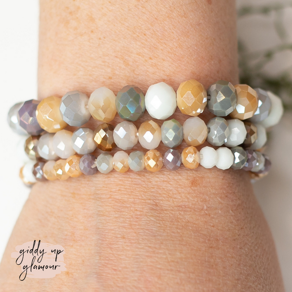 Set of Three Crystal Bracelets in Cool Multi