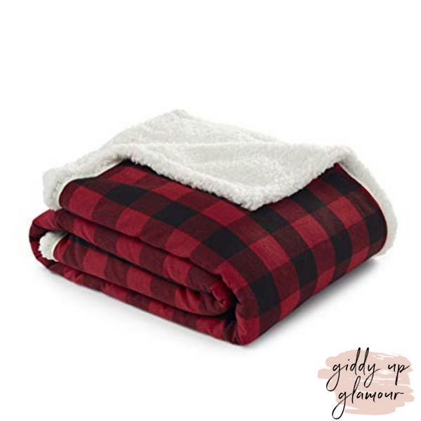 Buffalo Plaid Sherpa Throw Blanket in Red