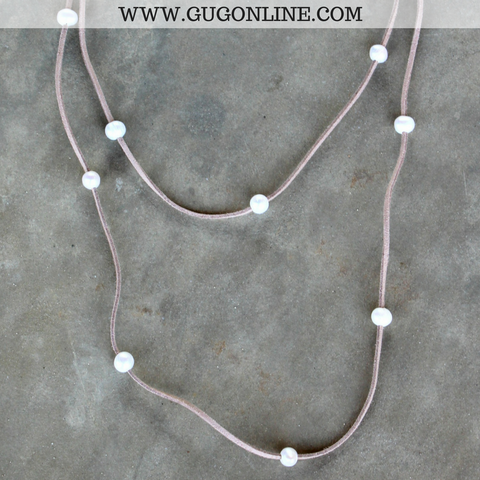On the Line Long Leather Necklace with Pearls in Tan