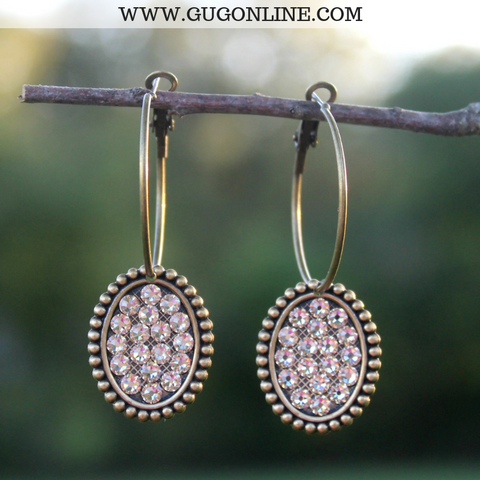 Pink Panache Medium Bronze Hoop Earrings with Light Topaz Crystal Ovals