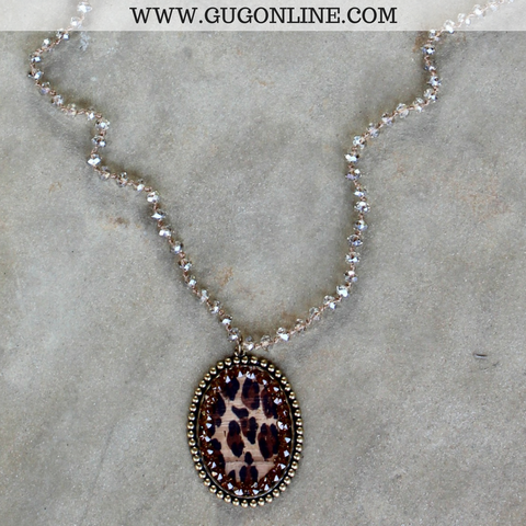 Pink Panache Long Champagne Necklace with Large Bronze Oval with Leopard and Topaz Crystals