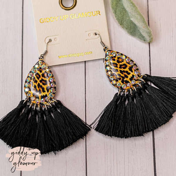 Tassel Teardrop Earrings in Leopard and Black