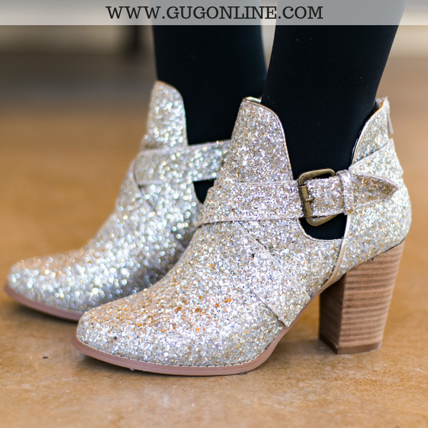 Champagne/Ivory Glitter/Sparkly Booties | Very G Trendy Boots Women Shoes