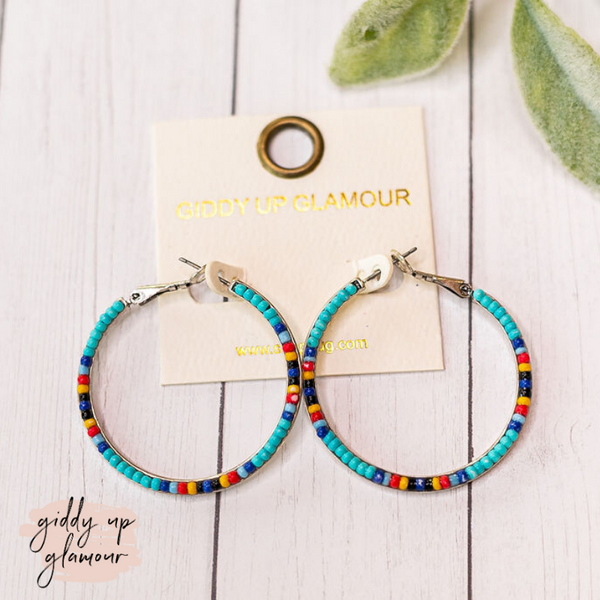 Seed Beaded Hoop Earrings in Turquoise