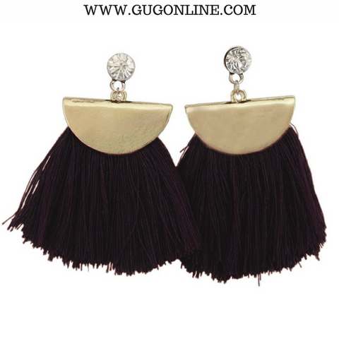 Gold Aruba Fan Tassel Earrings in Black