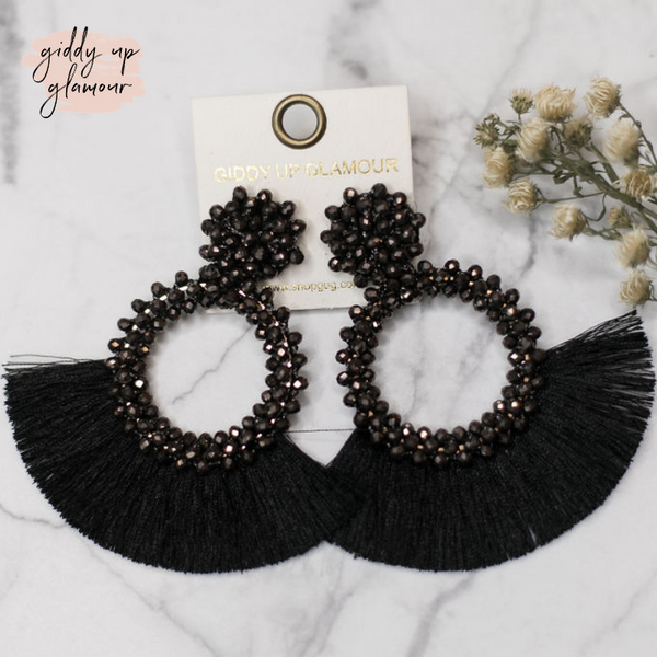 Crystal Circle Hoops with Fan Fringe Trim in Black