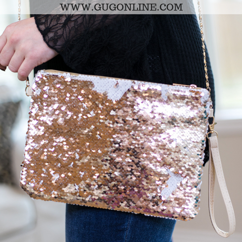 Oh La Las Vegas Sequin Purse in Rose Gold
