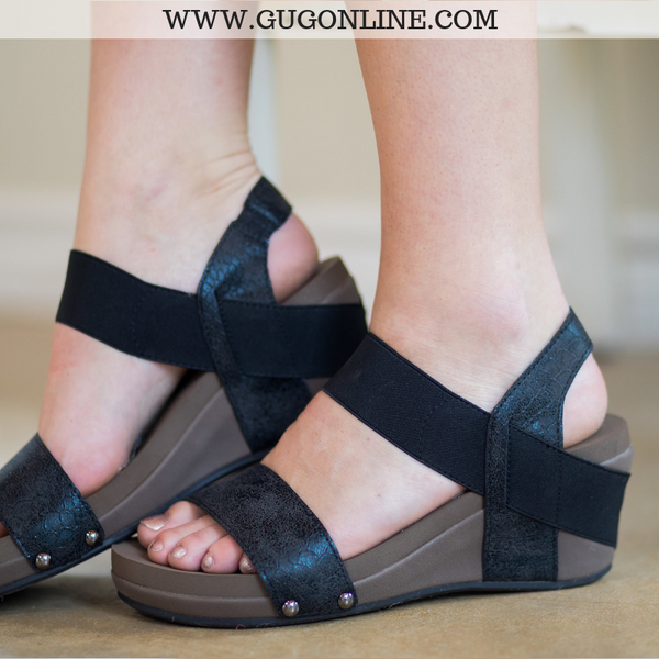 dd30565b3e2 Bandit Strappy Wedge Sandals in Black – Giddy Up Glamour Boutique