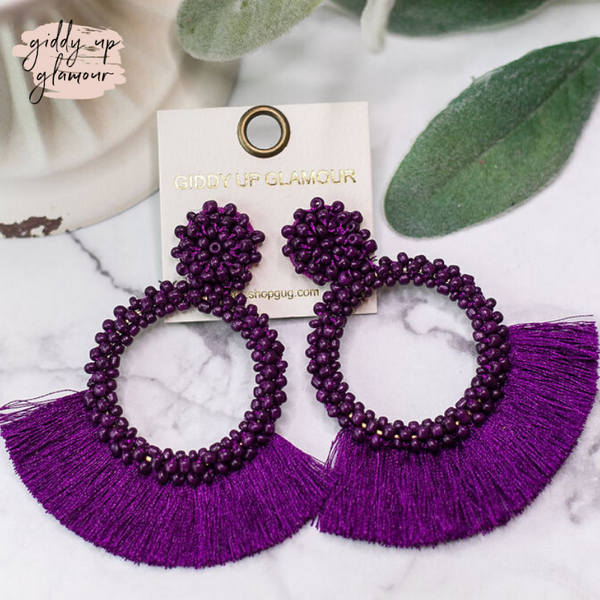 Seed Bead Circle Hoops with Fan Fringe Trim in Purple
