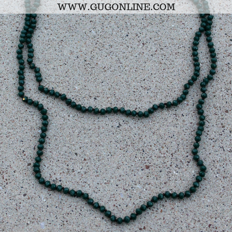 60 Inch Long Layering Crystal Strand Necklace in Forest Green