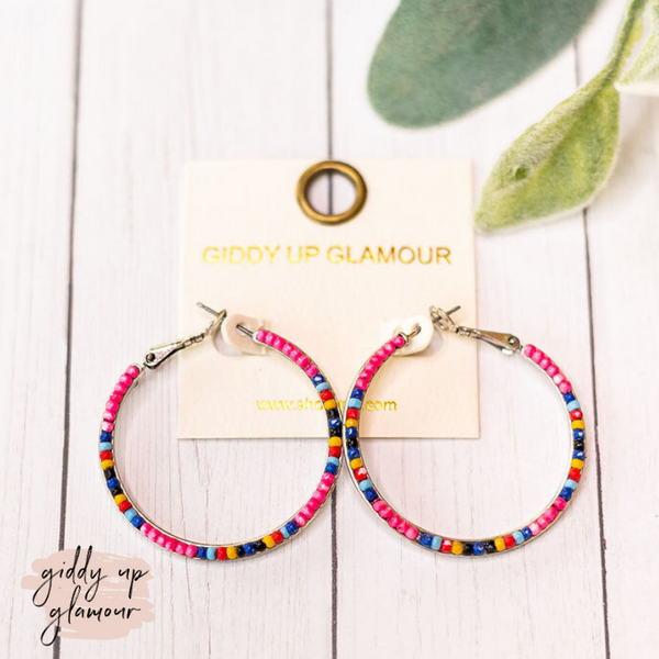 Seed Beaded Hoop Earrings in Hot Pink