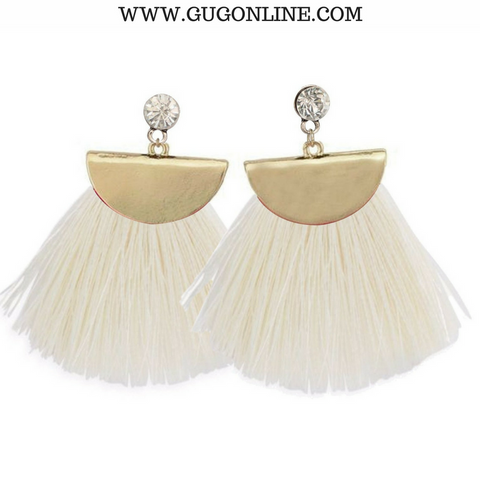 Gold Aruba Fan Tassel Earrings in White