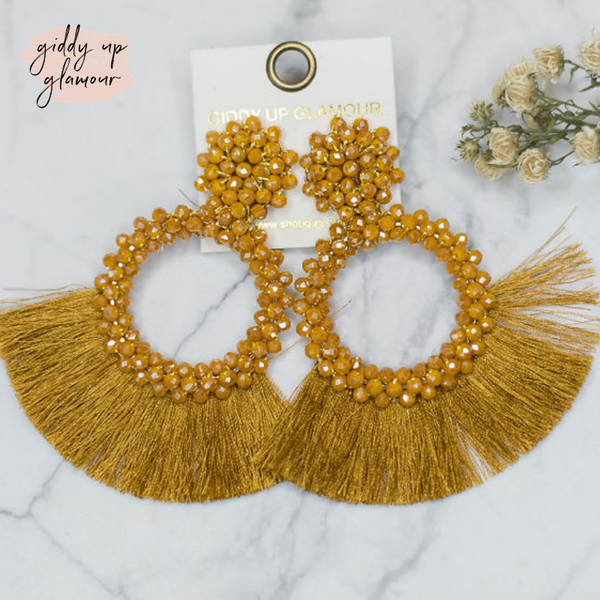 Crystal Circle Hoops with Fan Fringe Trim in Mustard Yellow