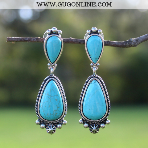 Turquoise Teardrop Post Earrings with Silver Embellishment