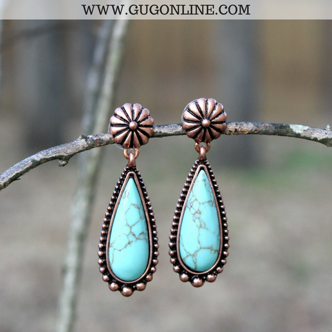 Turquoise and Copper Teardrop Earrings with Flower Accent