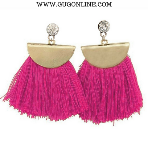 Gold Aruba Fan Tassel Earrings in Hot Pink