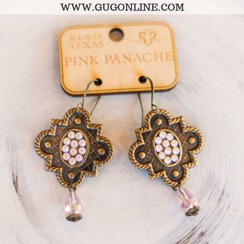 Pink Panache Bronze Mission Window Earrings with Powder Rose AB Crystals