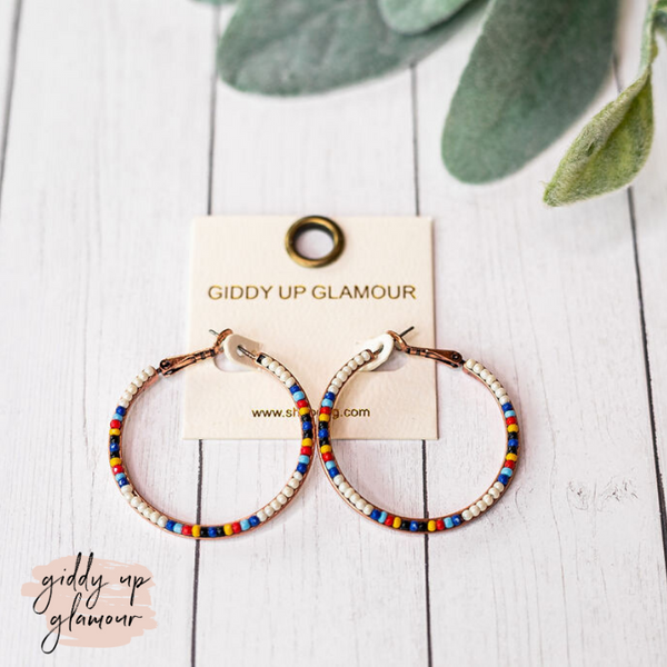Seed Beaded Hoop Earrings in Ivory
