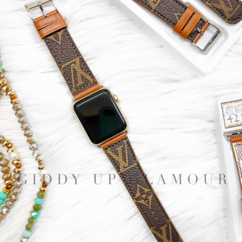 Repurposed LV Monogram Apple Watch Bands - 42MM