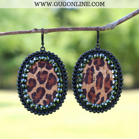 Pink Panache Black Matte Oval Earrings with Leopard Inlay and Black Crystals