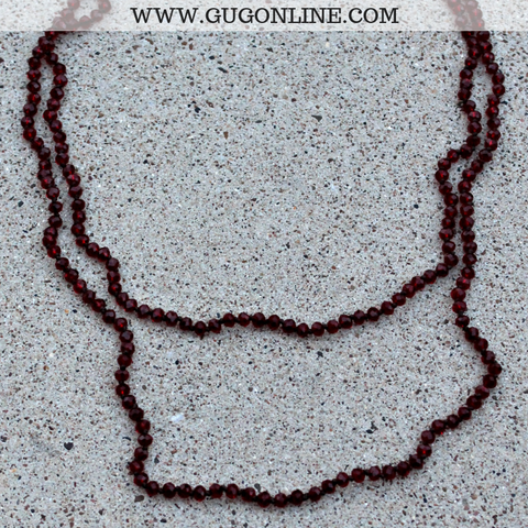 60 Inch Long Layering Crystal Strand Necklace in Clear Dark Red