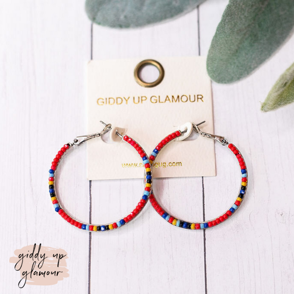 Seed Beaded Hoop Earrings in Red