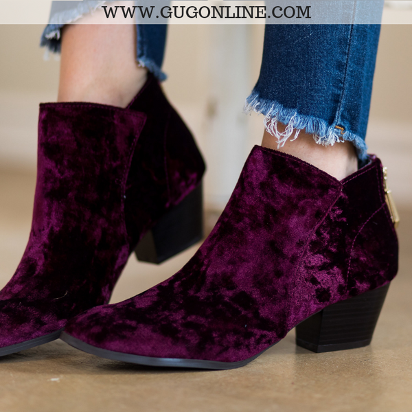 Velvet Short Ankle Booties Boots