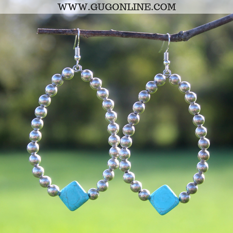 Burnished Silver Hoop Earrings with Turquoise Diamond Stone