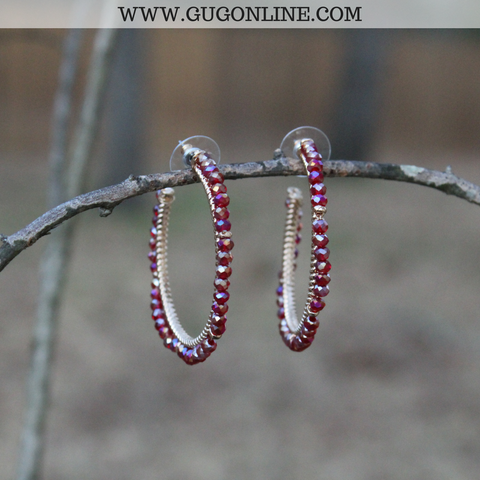 Crystal Hoop Earrings in Maroon