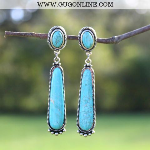 Round Turquoise Post Earrings with Elongated Turquoise Stone and Silver Embellishment