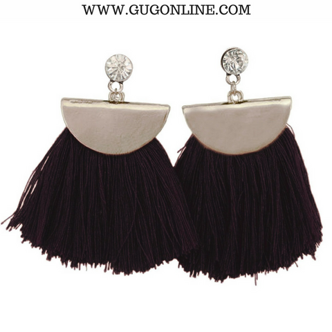 Silver Aruba Fan Tassel Earrings in Black