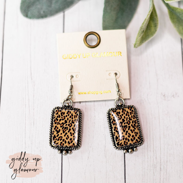 Silver Rectangle Earrings in Leopard