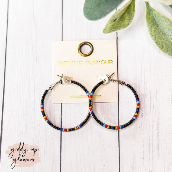 Seed Beaded Hoop Earrings in Black