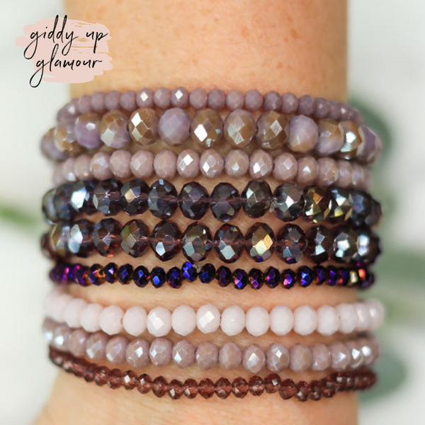 Nine Piece Crystal Bracelet Set in Purple