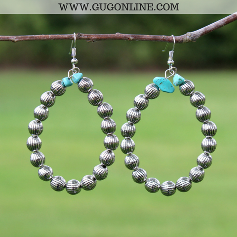 Silver Textured Hoop Earrings with Turquoise Accent