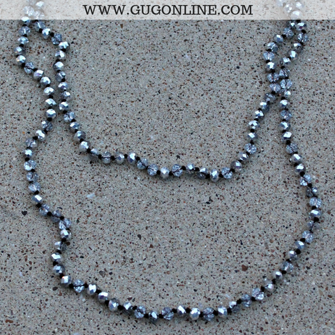60 Inch Long Layering 8mm Crystal Strand Necklace in Silver