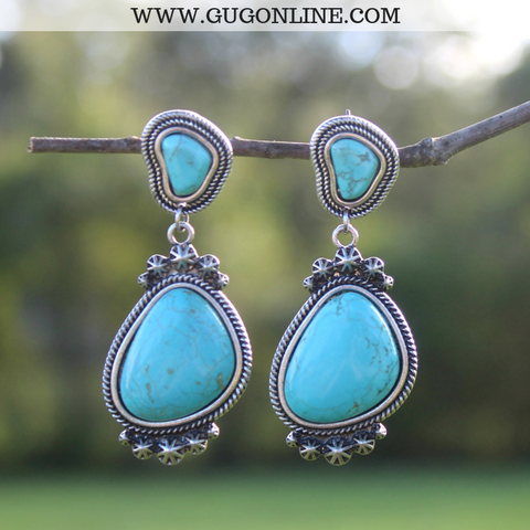 Circular Post Earrings with Drop Concho and Turquoise Stone