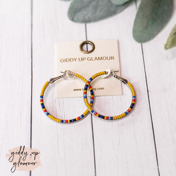 Seed Beaded Hoop Earrings in Yellow