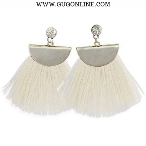 Silver Aruba Fan Tassel Earrings in White